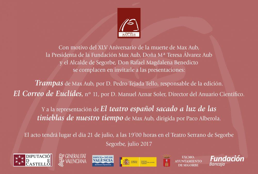 invitacion aniversario XLV muerte Max Aub